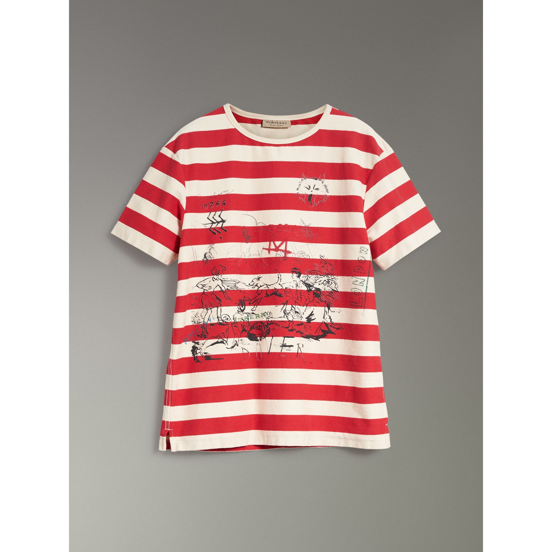 Adventure Print Striped Cotton T-shirt in Off White/parade Red - Men | Burberry Australia - gallery image 3