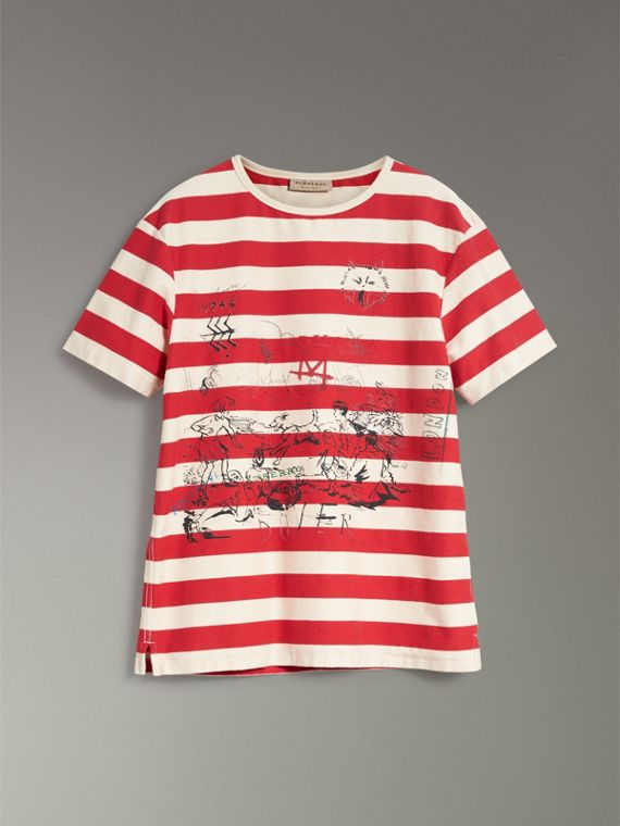 Adventure Print Striped Cotton T-shirt in Off White/parade Red - Men | Burberry Australia - cell image 3