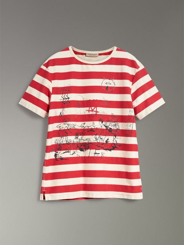 Adventure Print Striped Cotton T-shirt in Off White/parade Red - Men | Burberry United Kingdom - cell image 3