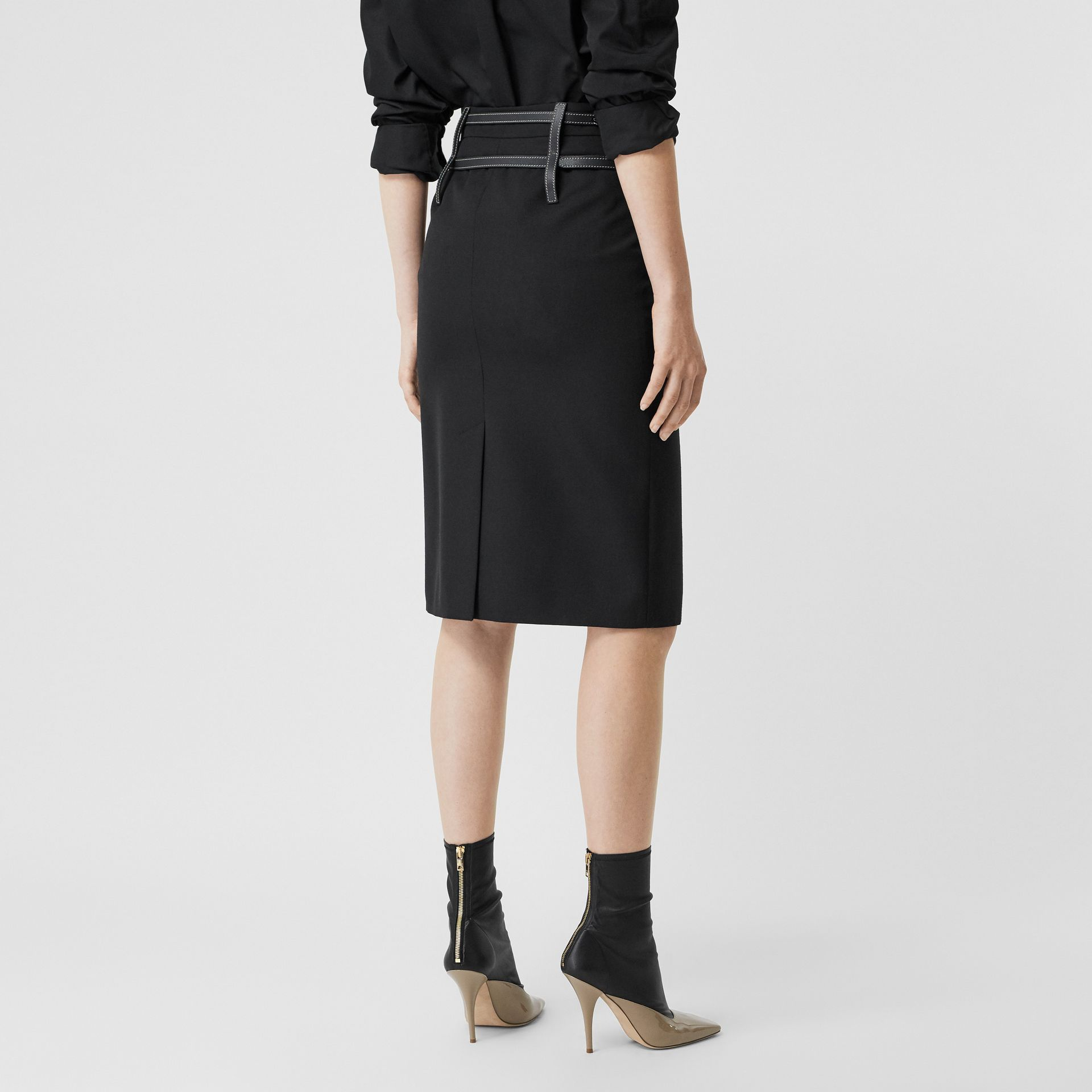 Leather Harness Detail Wool Pencil Skirt in Black - Women | Burberry - gallery image 2
