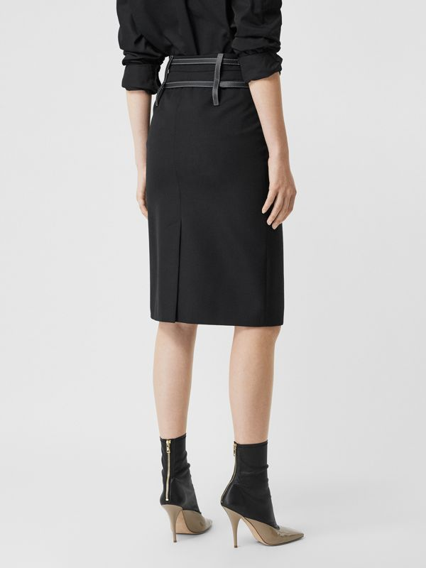 Leather Harness Detail Wool Pencil Skirt in Black - Women | Burberry - cell image 2
