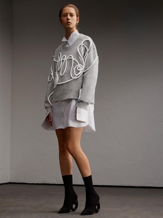 抽繩細節中性風背面刷毛平織運動衫