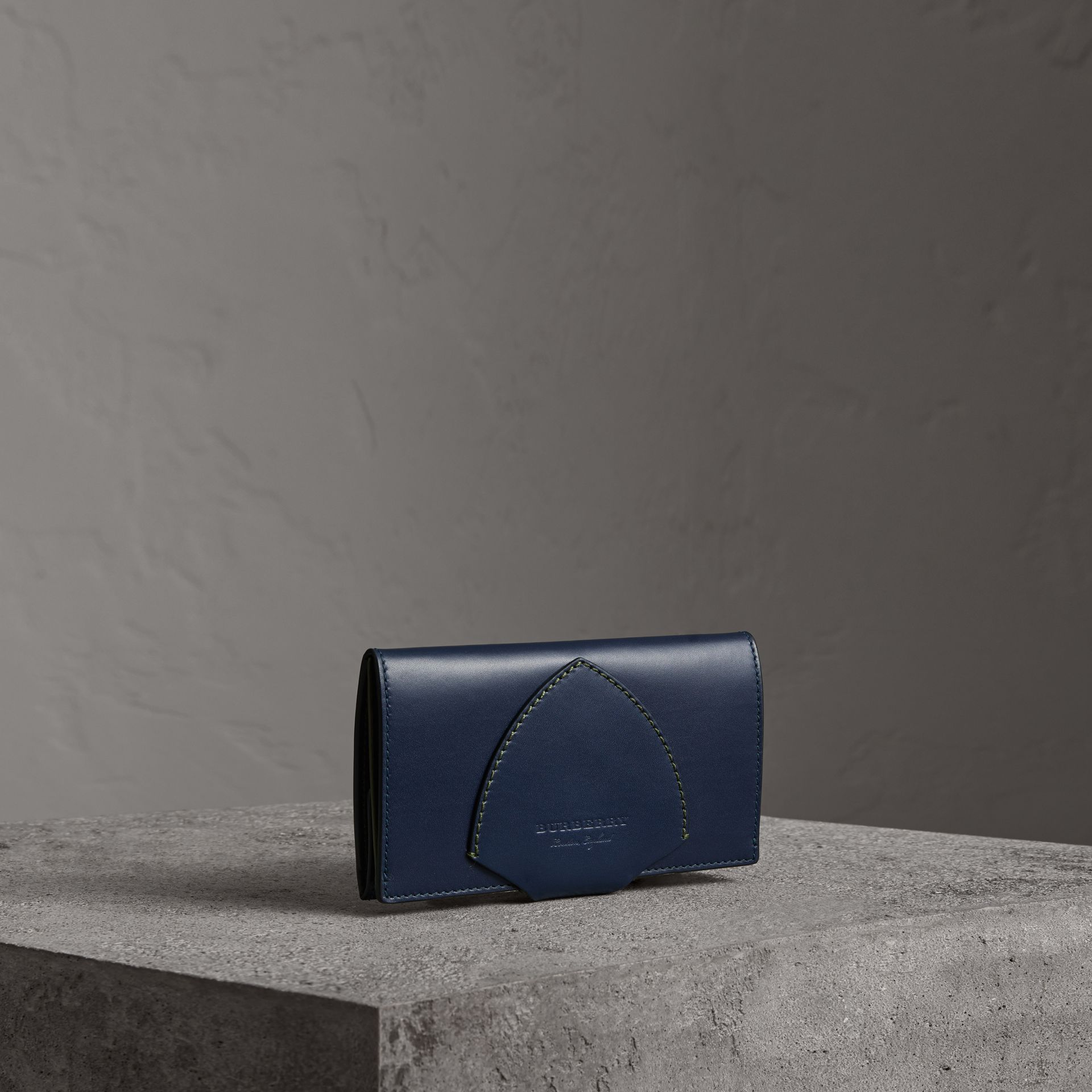 Equestrian Shield Two-tone Leather Continental Wallet in Mid Indigo - Women | Burberry United Kingdom - gallery image 0