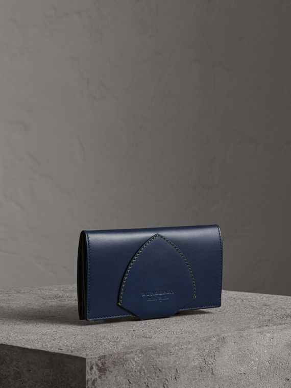 Equestrian Shield Two-tone Leather Continental Wallet in Mid Indigo