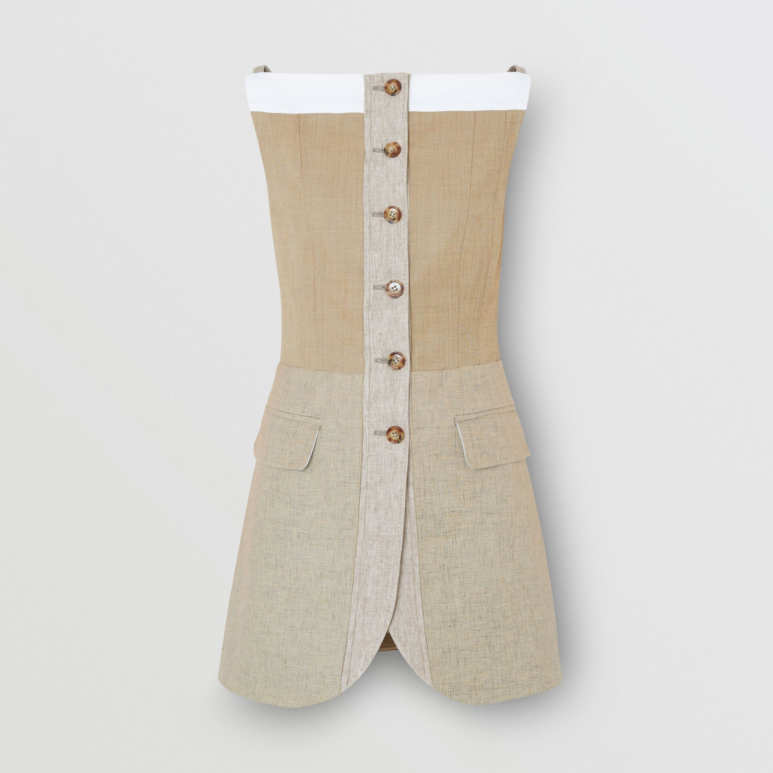 Wool Cashmere and Linen Waistcoat in Pecan Melange - Women | Burberry - 4