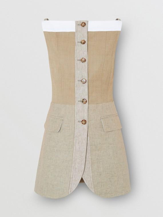 Wool Cashmere and Linen Waistcoat in Pecan Melange