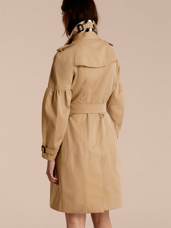 Honey Cotton Gabardine Trench Coat with Puff Sleeves Honey - cell image 2