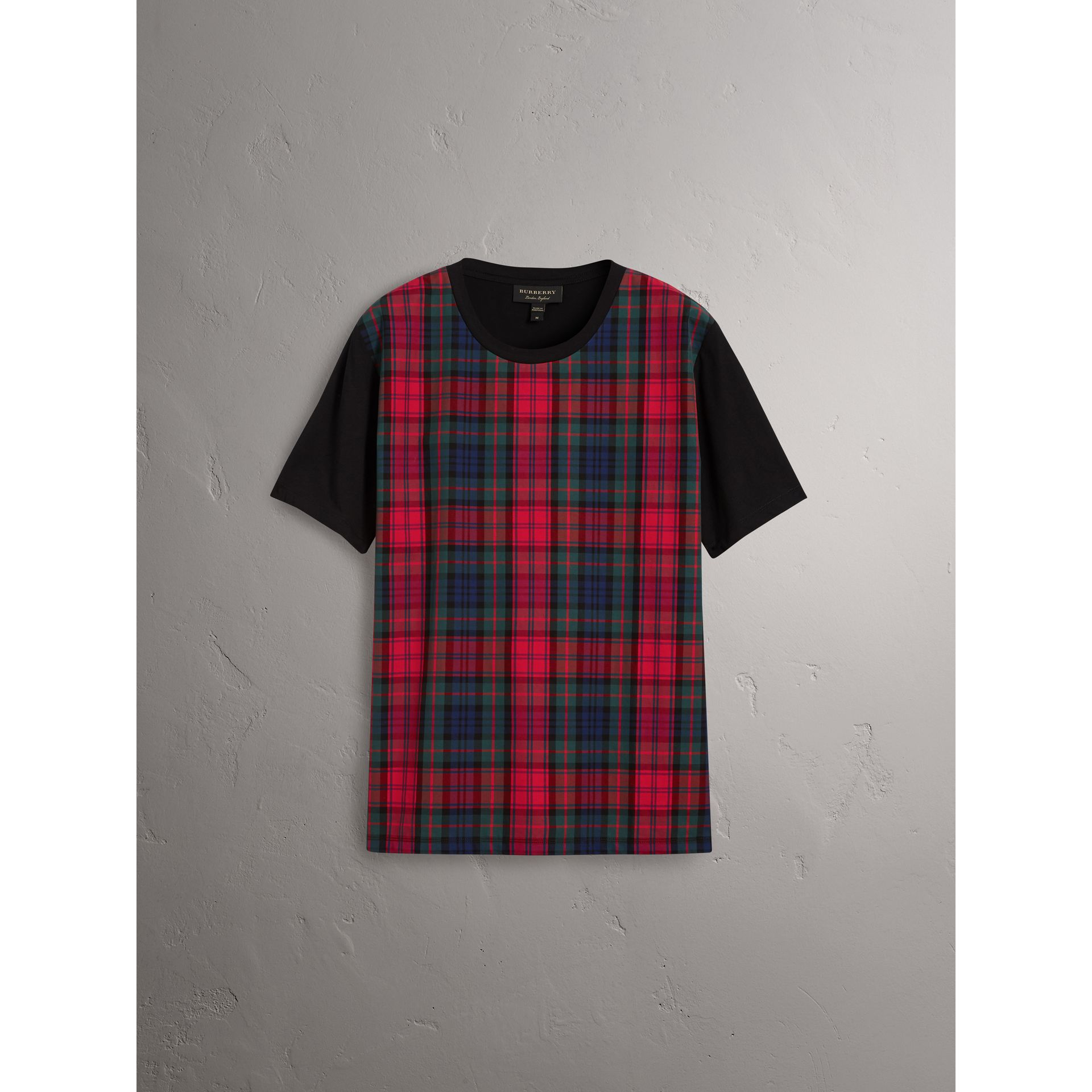 Tartan Panel Cotton T-shirt in Black - Men | Burberry - gallery image 3