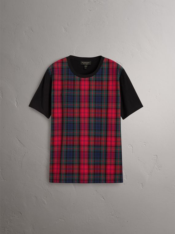 Tartan Panel Cotton T-shirt in Black - Men | Burberry - cell image 3
