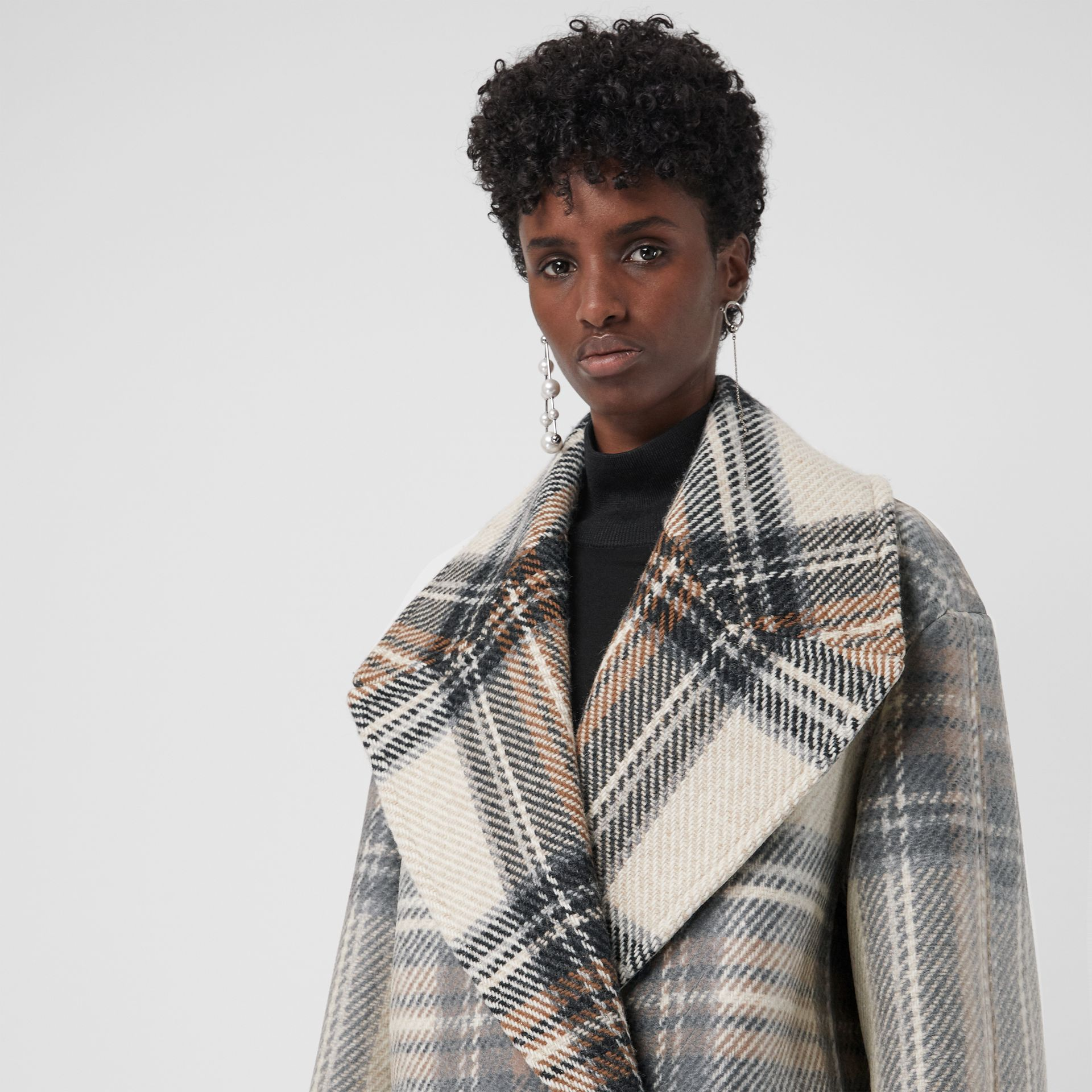 Check Wool Oversized Tailored Coat in Chalk White - Women | Burberry - gallery image 1