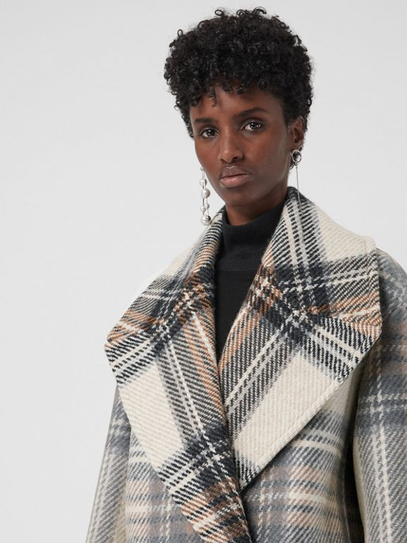 Check Wool Oversized Tailored Coat in Chalk White - Women | Burberry - cell image 1
