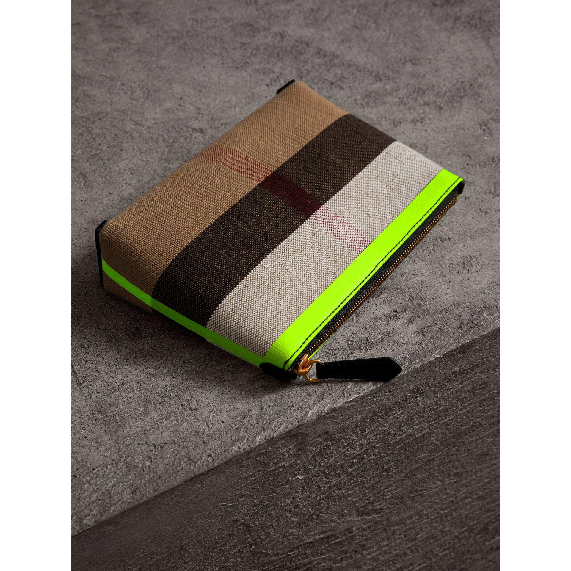Medium Check Canvas and Leather Zip Pouch in Black/neon Yellow - Women | Burberry United Kingdom - gallery image 2