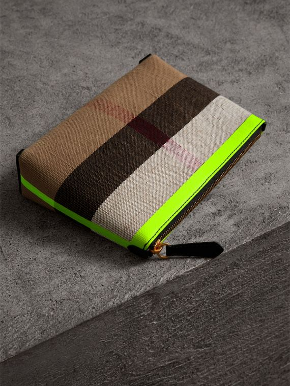 Medium Check Canvas and Leather Zip Pouch in Black/neon Yellow - Women | Burberry United Kingdom - cell image 2