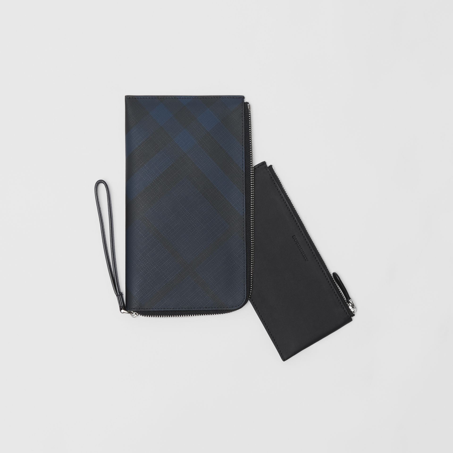 London Check and Leather Travel Wallet in Navy/black - Men | Burberry Canada - gallery image 5