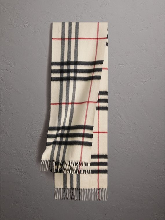 The Classic Cashmere Scarf in Check in White