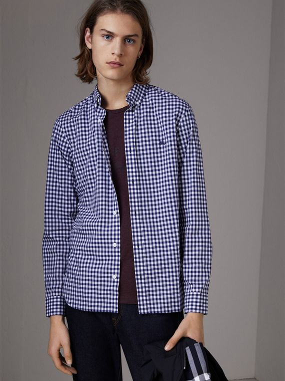 Button-down Collar Gingham Cotton Shirt in Navy