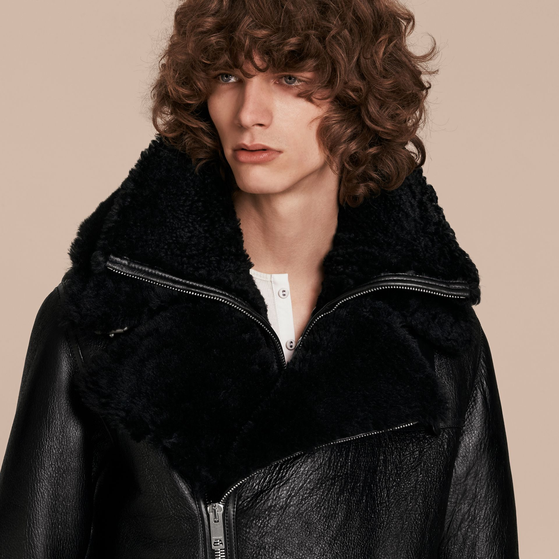 Black Long-line Shearling Aviator Jacket with Zip-out Bib - gallery image 6