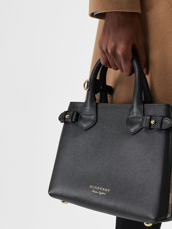 The Small Banner in Leather and House Check in Black - Women | Burberry United States - cell image 3