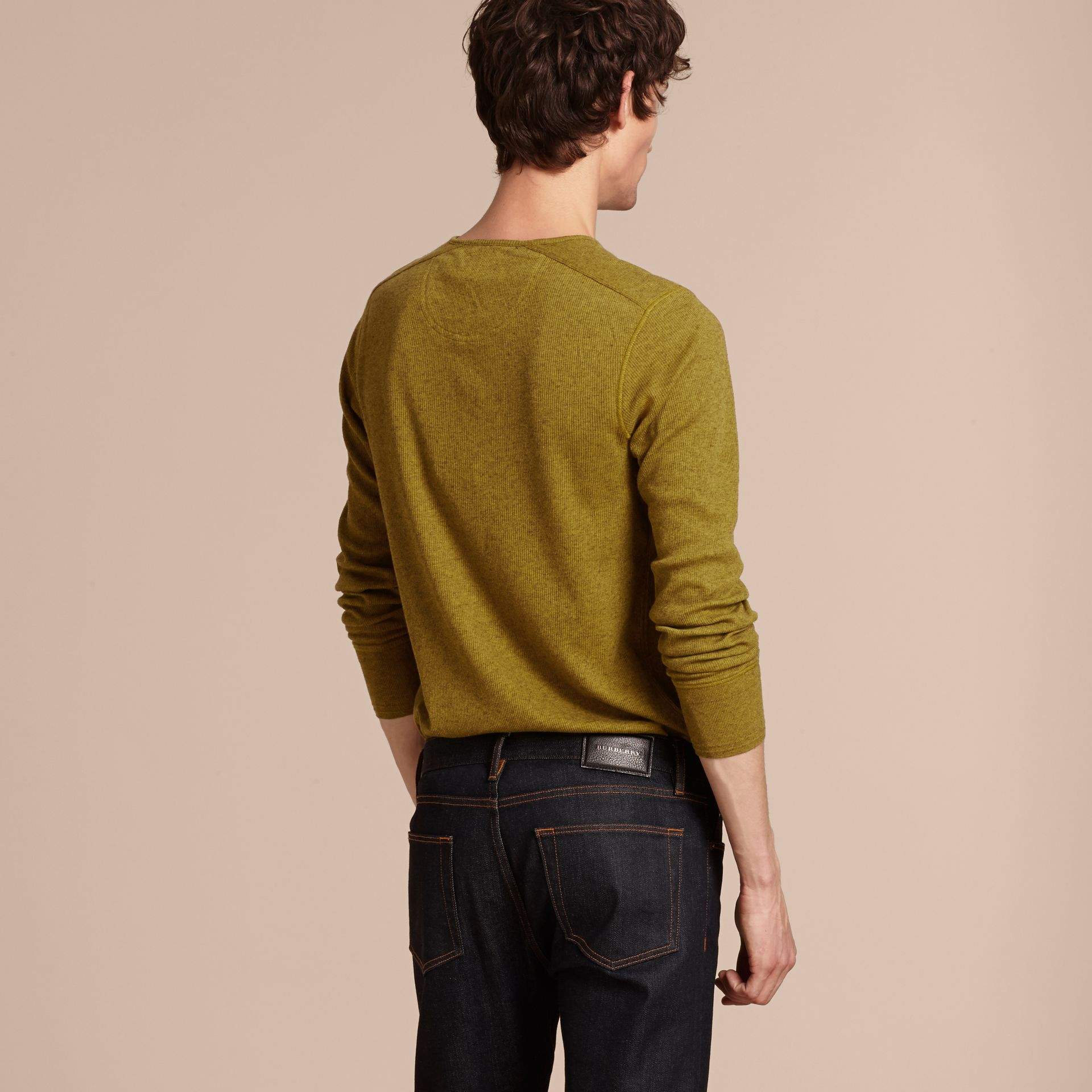 Olive green Ribbed Cotton Wool Henley Top Olive Green - gallery image 3