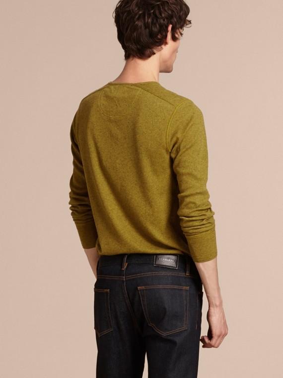 Olive green Camisa Henley de lã e algodão canelados Olive Green - cell image 2