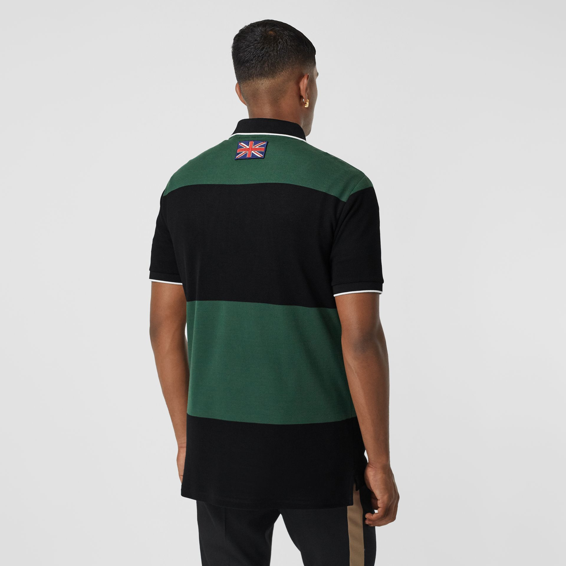 Logo Appliqué Striped Cotton Polo Shirt in Dark Pine Green - Men | Burberry United Kingdom - gallery image 2