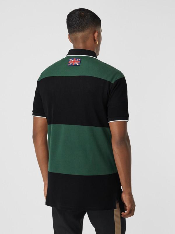 Logo Appliqué Striped Cotton Polo Shirt in Dark Pine Green - Men | Burberry United Kingdom - cell image 2