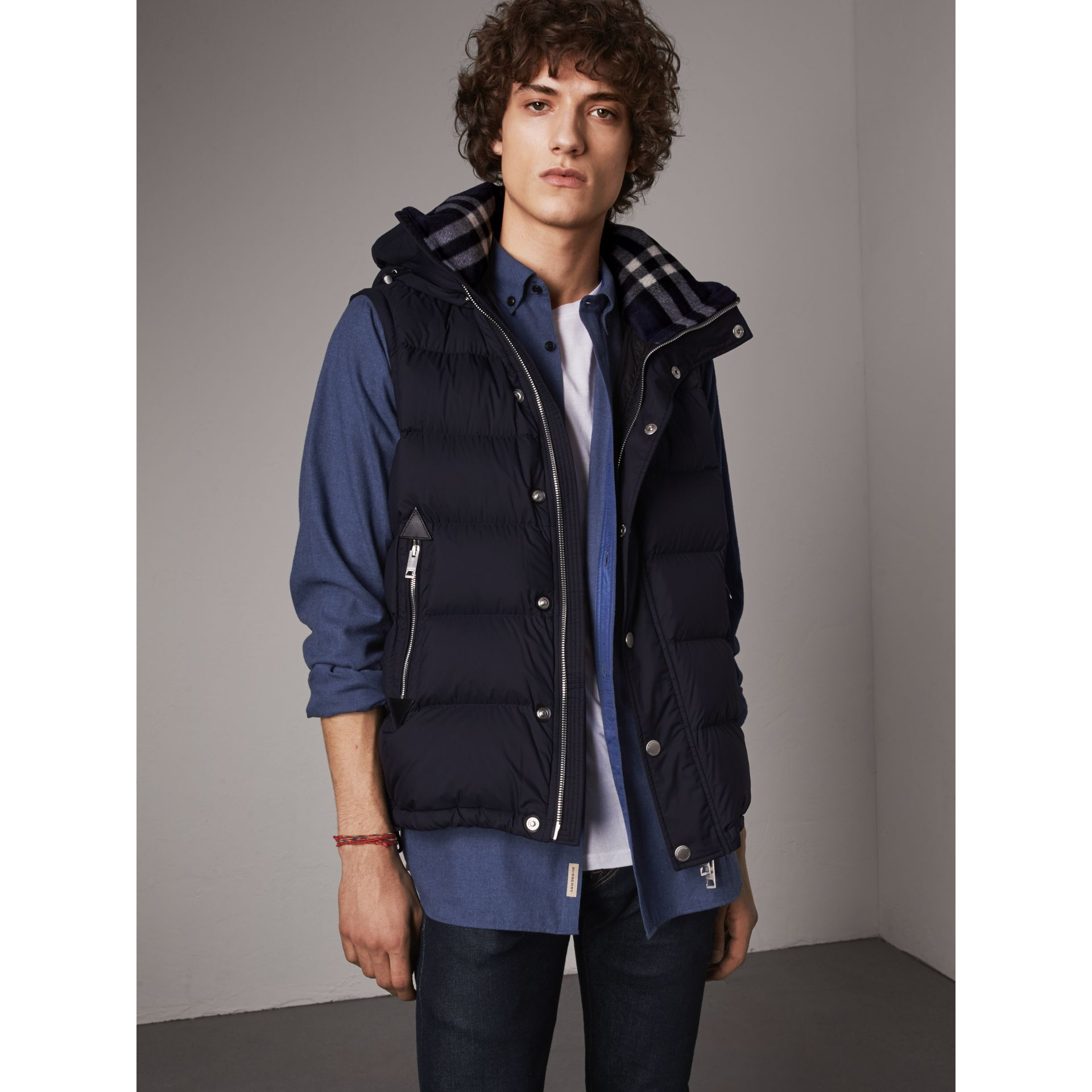 Detachable-sleeve Down-filled Puffer Jacket in Navy - Men | Burberry - gallery image 6