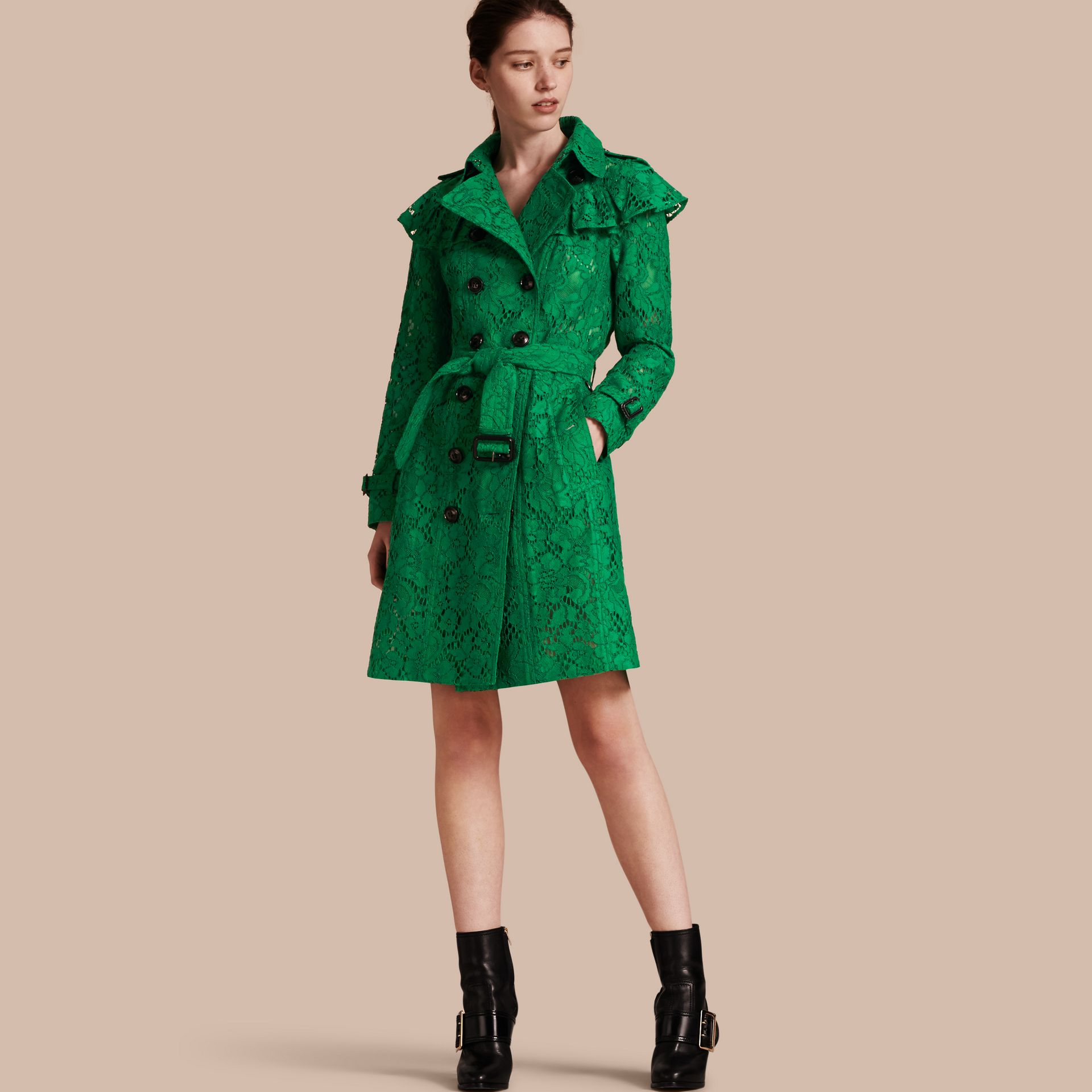 Ruffle Detail Macramé Lace Trench Coat Kelly Green - gallery image 1