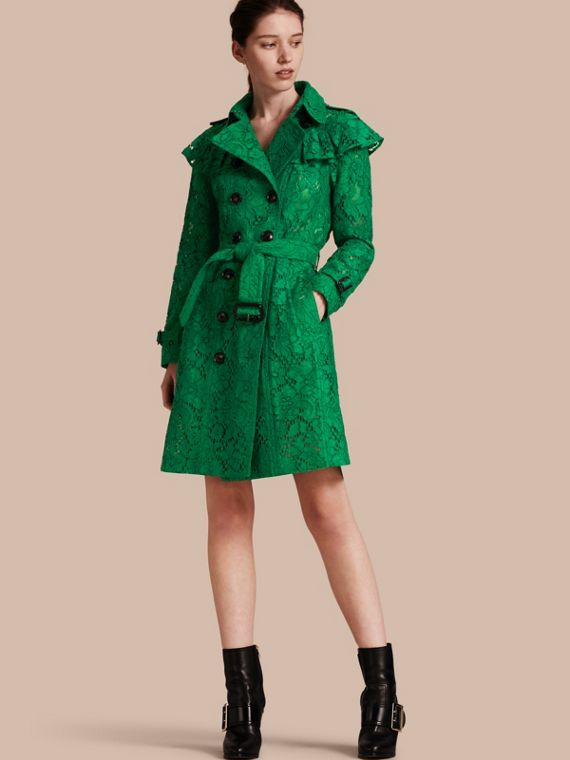 Ruffle Detail Macramé Lace Trench Coat Kelly Green