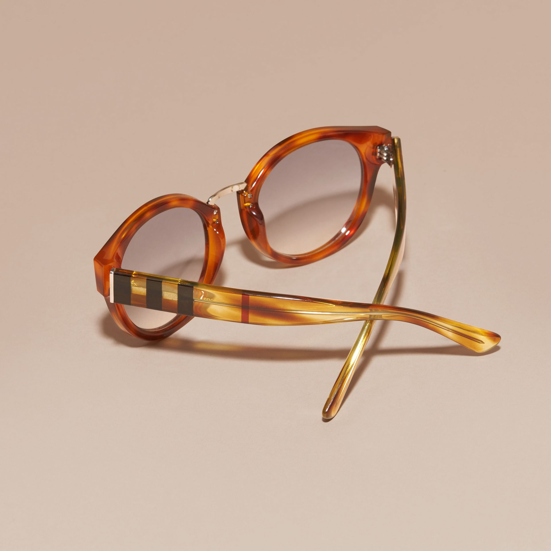 Check and Camouflage Detail Round Frame Sunglasses in Light Russet Brown - Women | Burberry Australia - gallery image 4