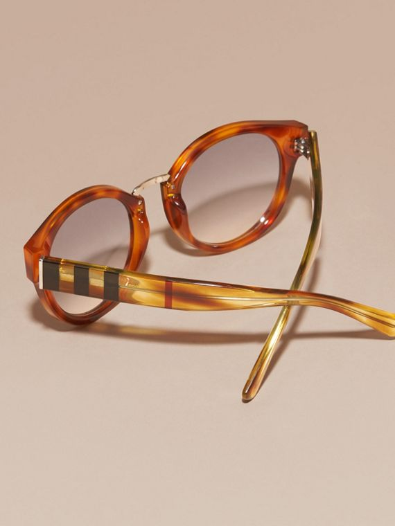 Check and Camouflage Detail Round Frame Sunglasses in Light Russet Brown - Women | Burberry - cell image 3