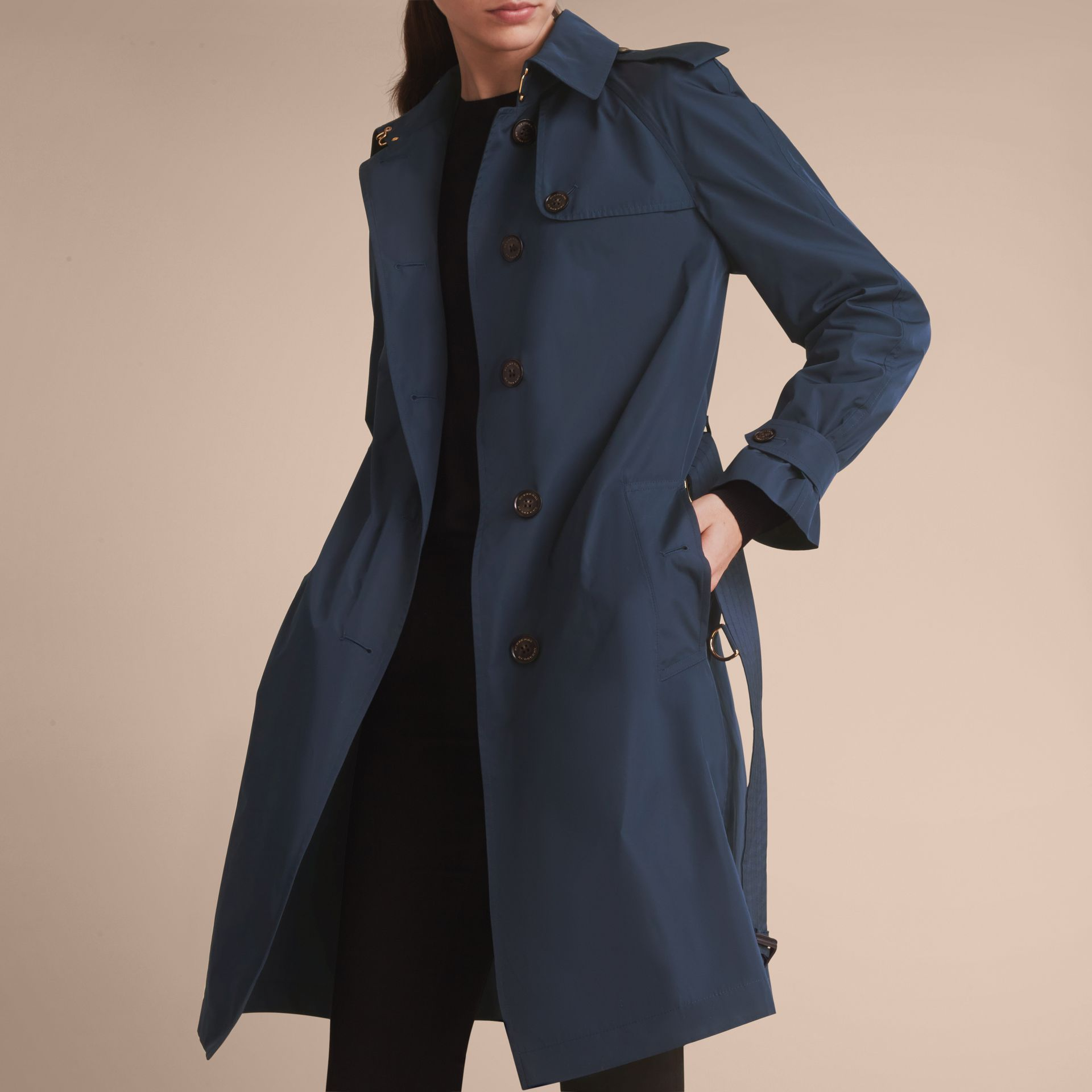 Single-breasted Technical Trench Coat Navy - gallery image 5