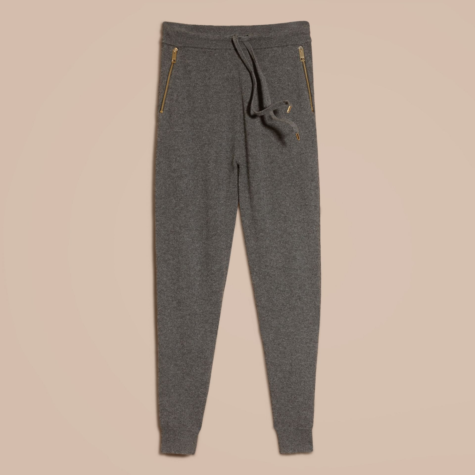 Dark grey melange Knitted Cashmere Cotton Joggers - gallery image 4