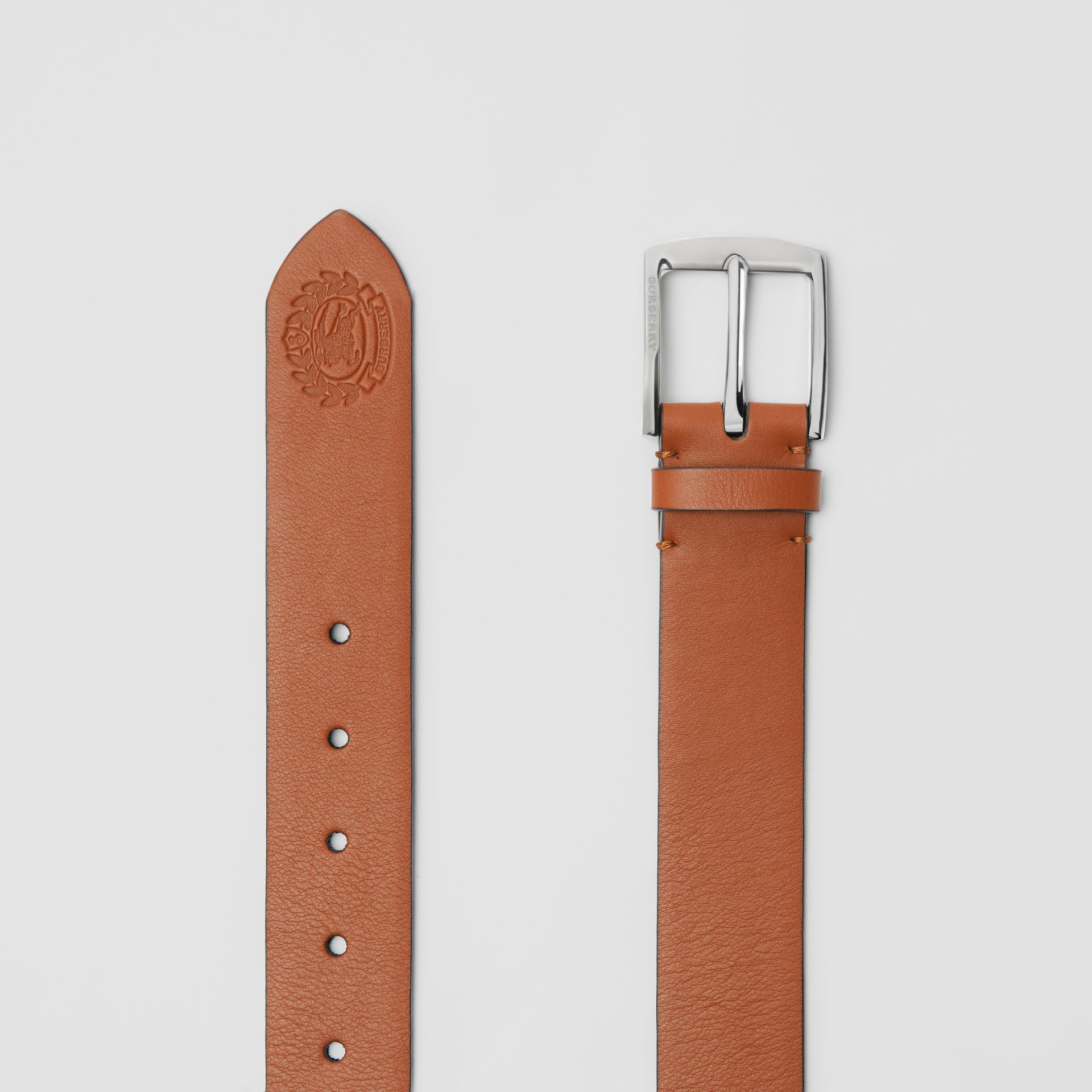 Embossed Crest Leather Belt in Chestnut Brown - Men | Burberry United States - gallery image 5