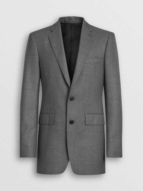 Classic Fit Sharkskin Wool Suit in Mid Grey Melange - Men | Burberry Singapore - cell image 3