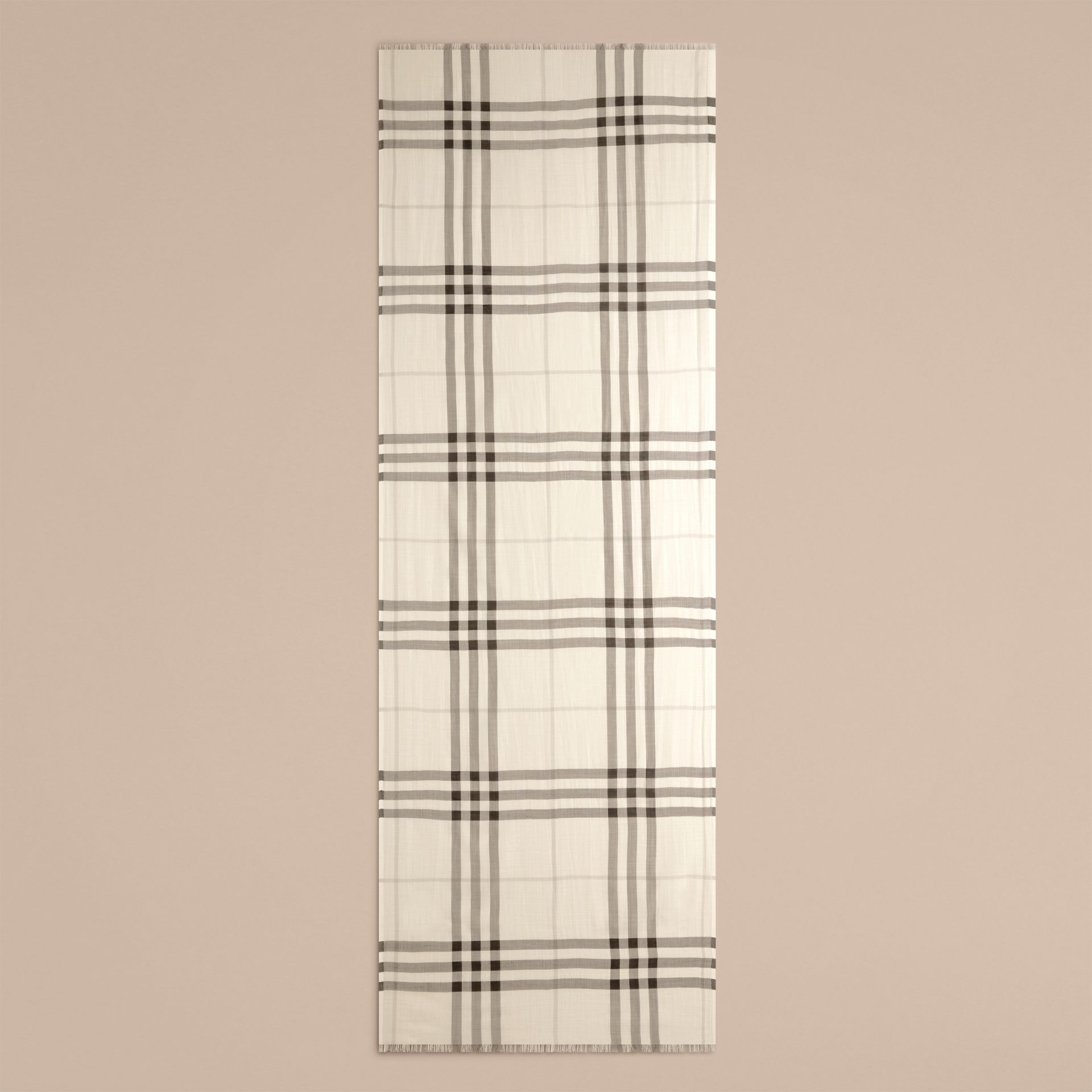 Natural white Lightweight Check Wool and Silk Scarf Natural White - gallery image 5