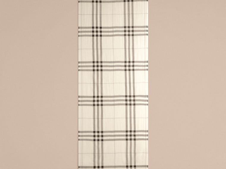 Natural white Lightweight Check Wool and Silk Scarf Natural White - cell image 4