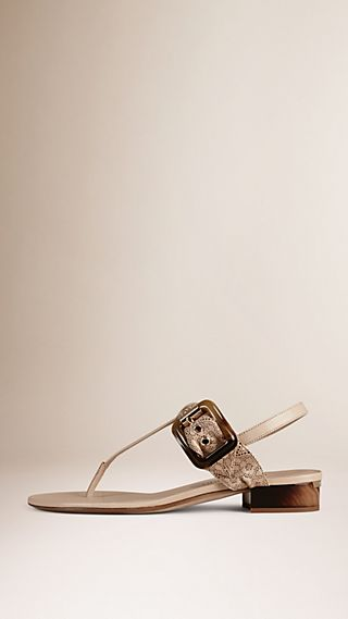 Laser-cut Lace Leather Sandals