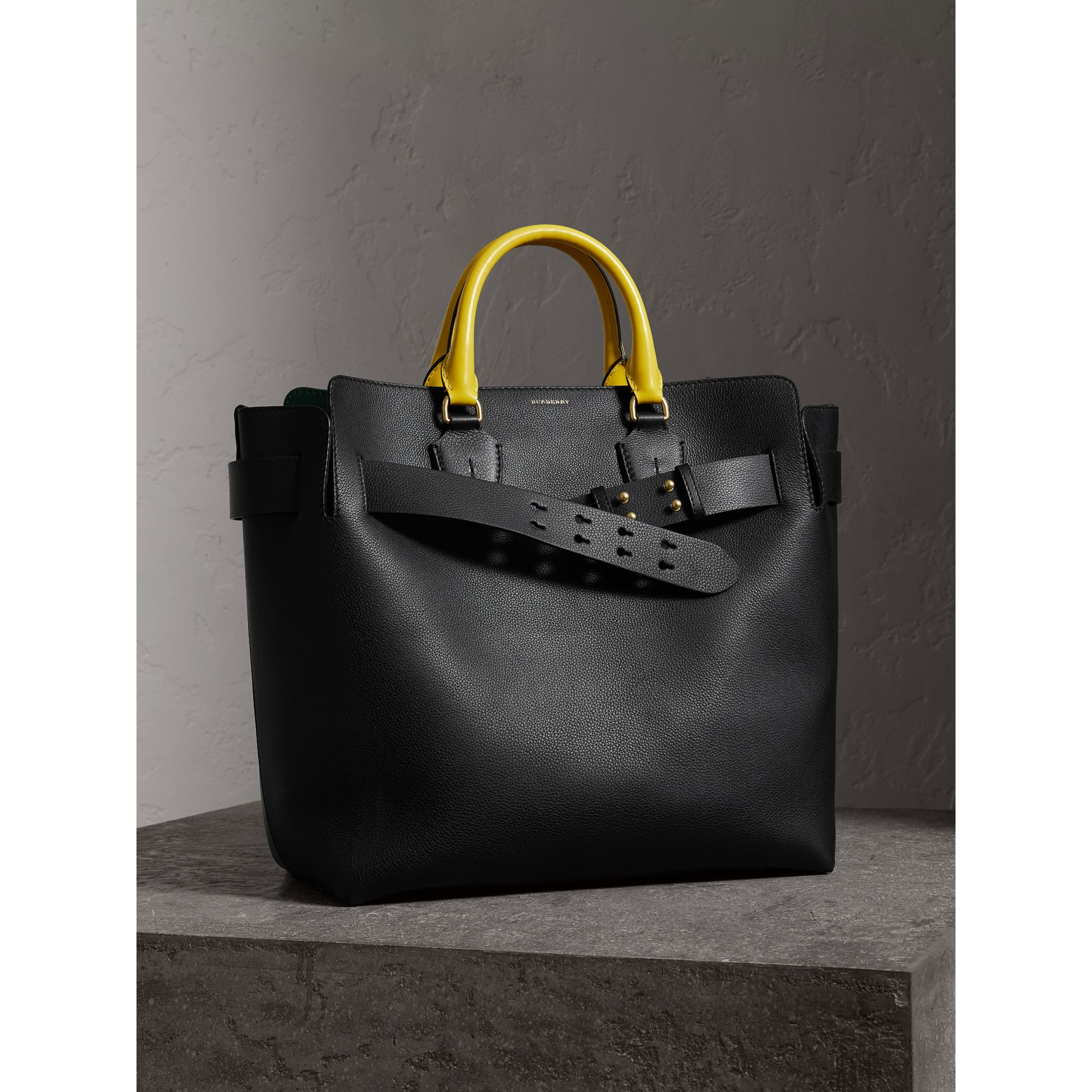 Grand sac The Belt en cuir tricolore (Noir/vert Marin) | Burberry - photo de la galerie 8