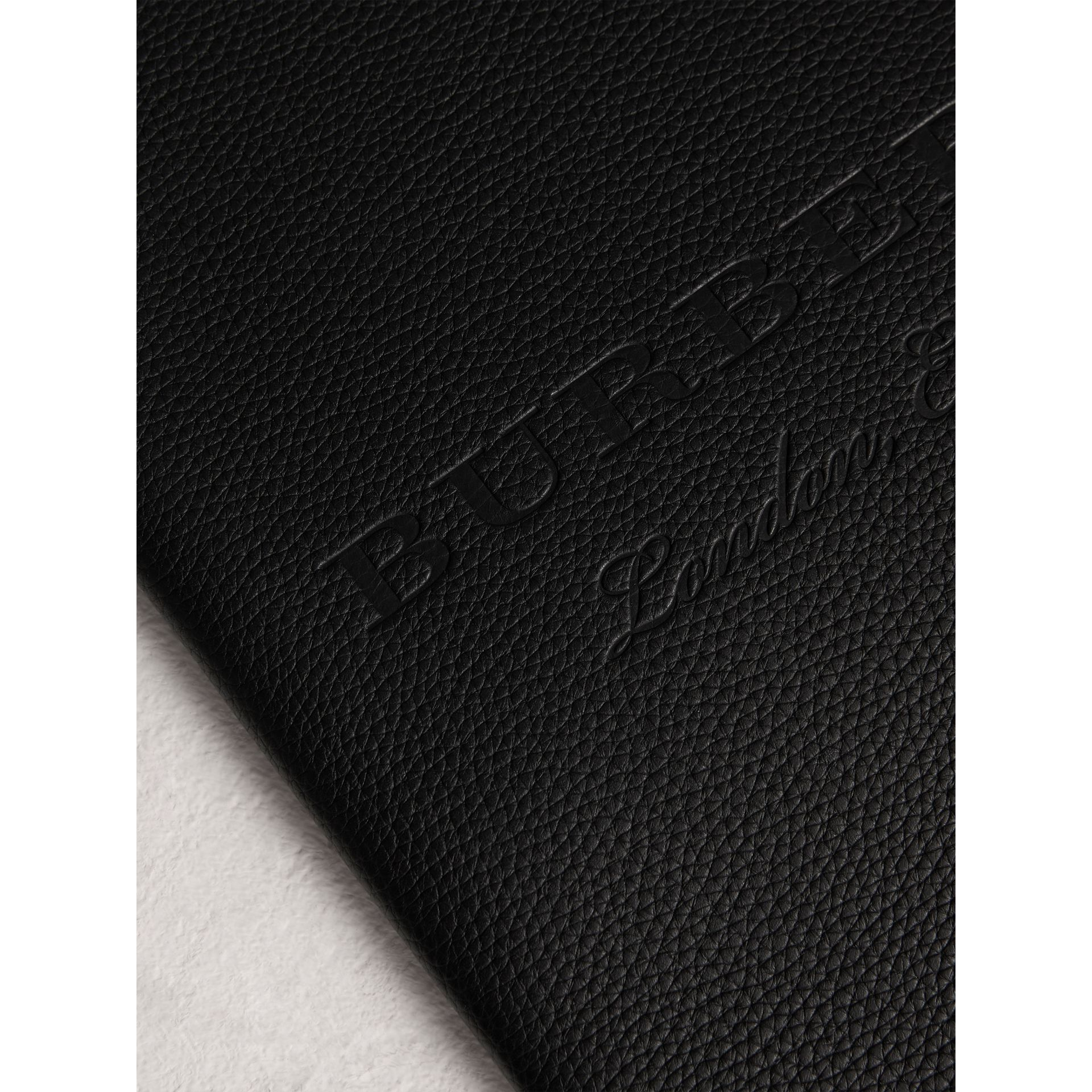 Embossed Grainy Leather Ziparound A4 Notebook Case in Black | Burberry - gallery image 1