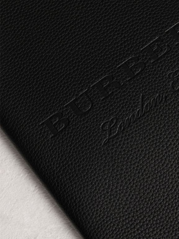 Embossed Grainy Leather Ziparound A4 Notebook Case in Black | Burberry - cell image 1