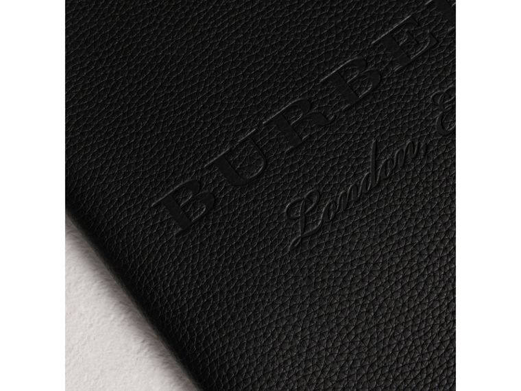 Embossed Grainy Leather Ziparound A4 Notebook Case in Black | Burberry Australia - cell image 1
