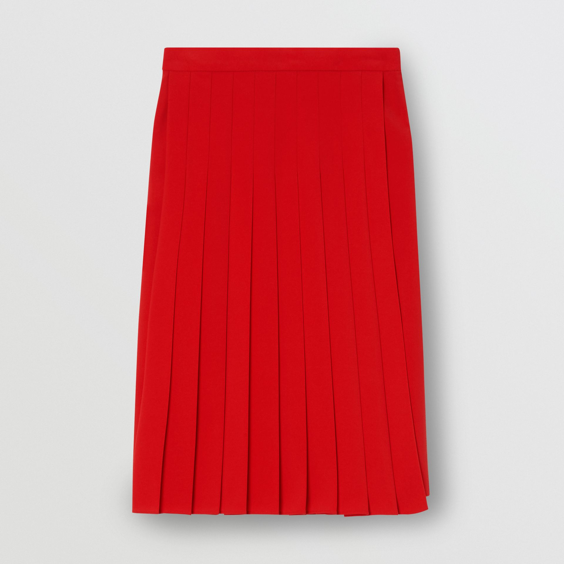 Stretch Cady Pleated Skirt in Bright Red - Women | Burberry United Kingdom - gallery image 3