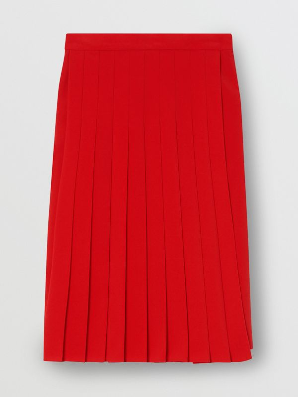 Stretch Cady Pleated Skirt in Bright Red - Women | Burberry United Kingdom - cell image 3