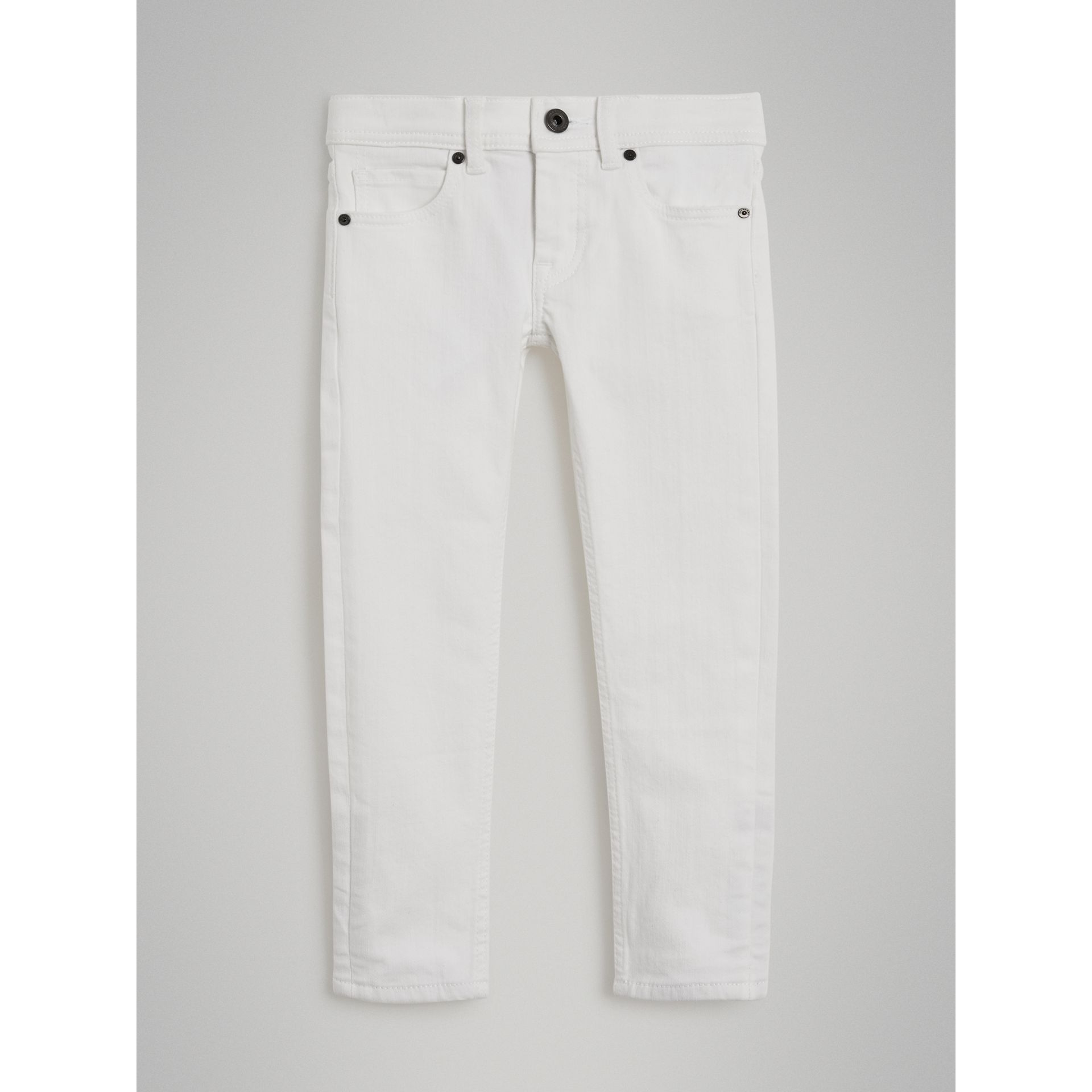 Skinny Fit Stretch Jeans in White - Girl | Burberry United States - gallery image 0