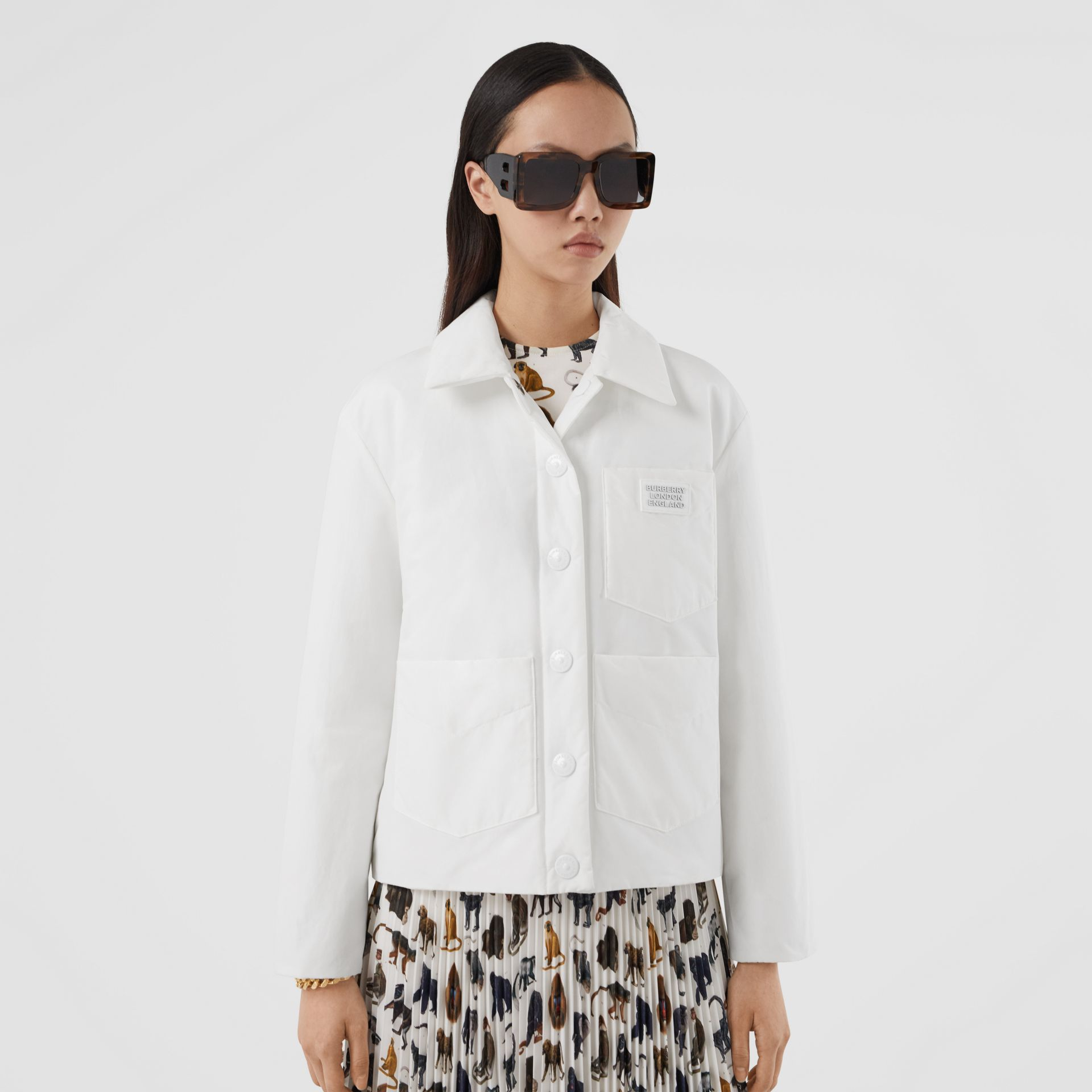 Logo Appliqué Cotton Blend Jacket in White | Burberry United Kingdom - gallery image 3