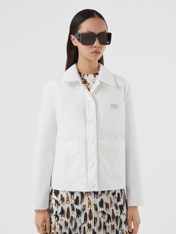 Logo Appliqué Cotton Blend Jacket in White | Burberry United Kingdom - cell image 3