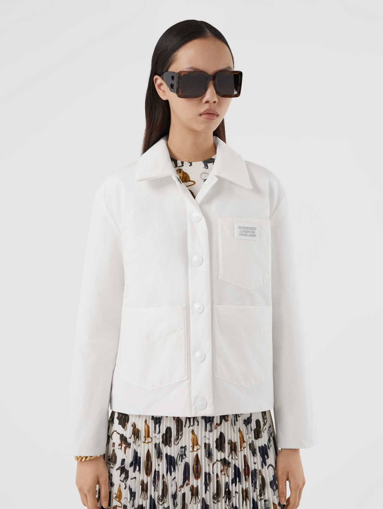 Logo Appliqué Cotton Blend Jacket (White)