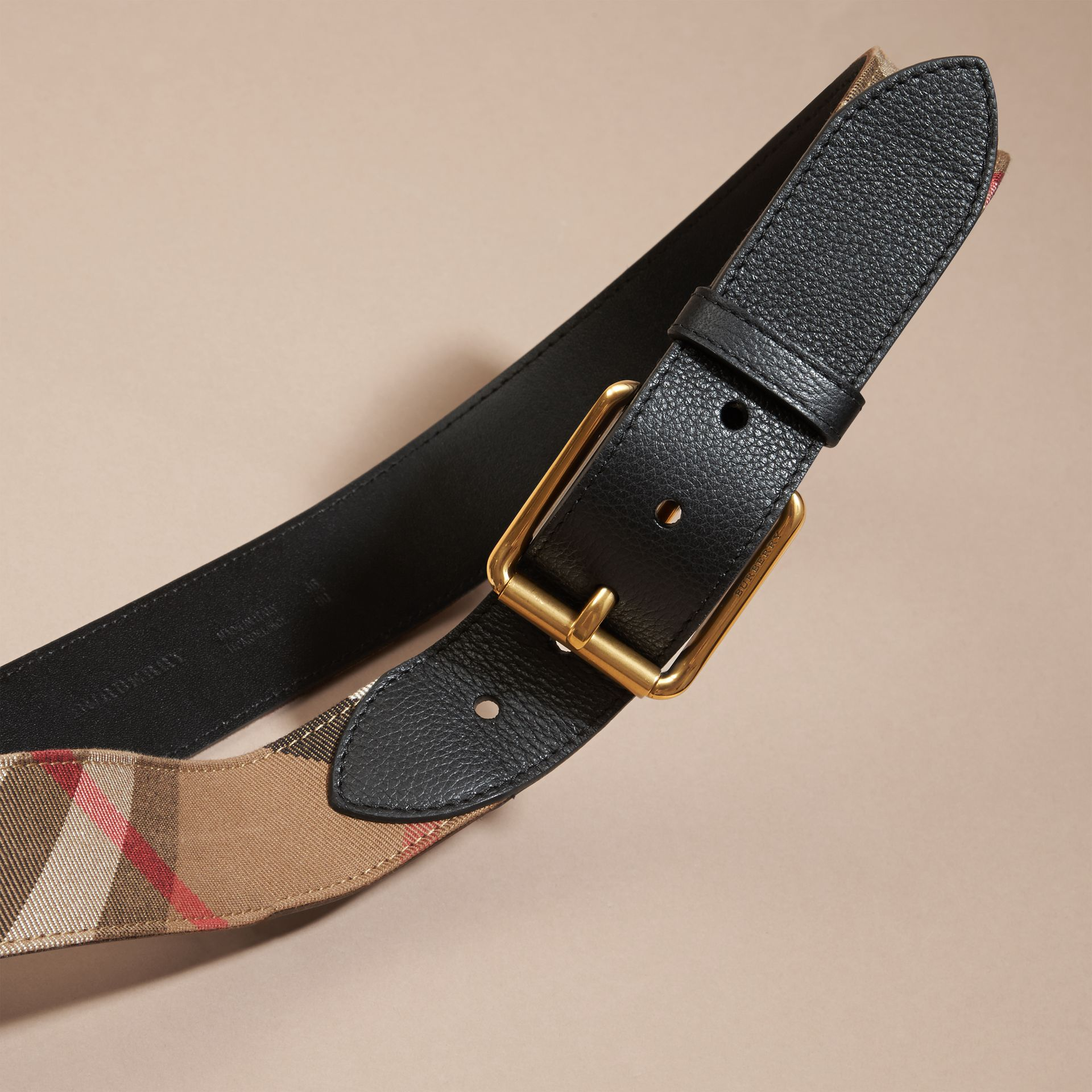 House Check and Leather Belt in Black - Men | Burberry - gallery image 3