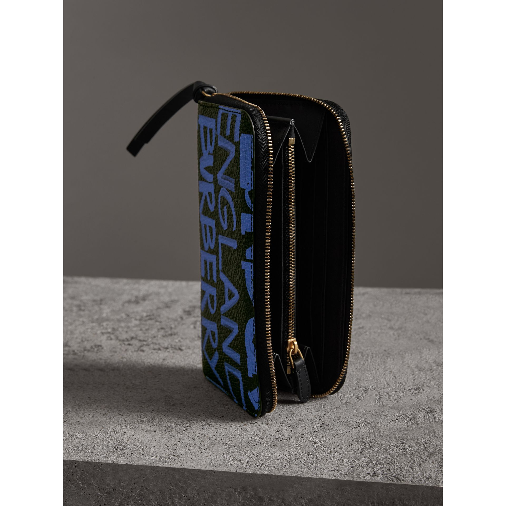 Graffiti Print Leather Ziparound Wallet in Blue/black - Women | Burberry Australia - gallery image 3